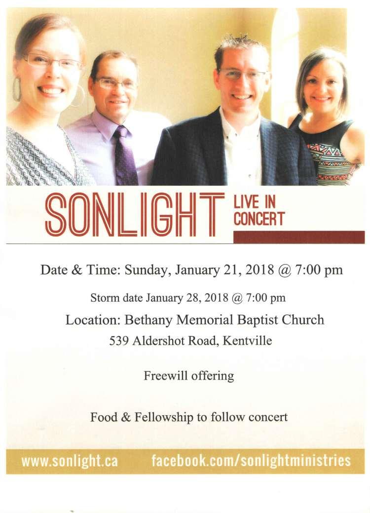Sonlight Poster January 21, 2018